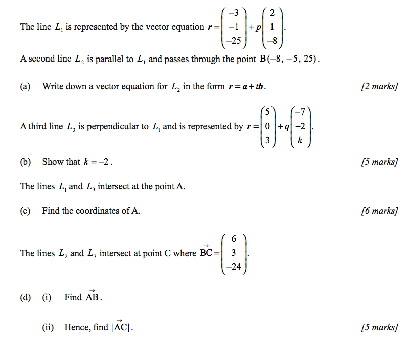 Vectors Questions Bsb Ib Standard Level Maths