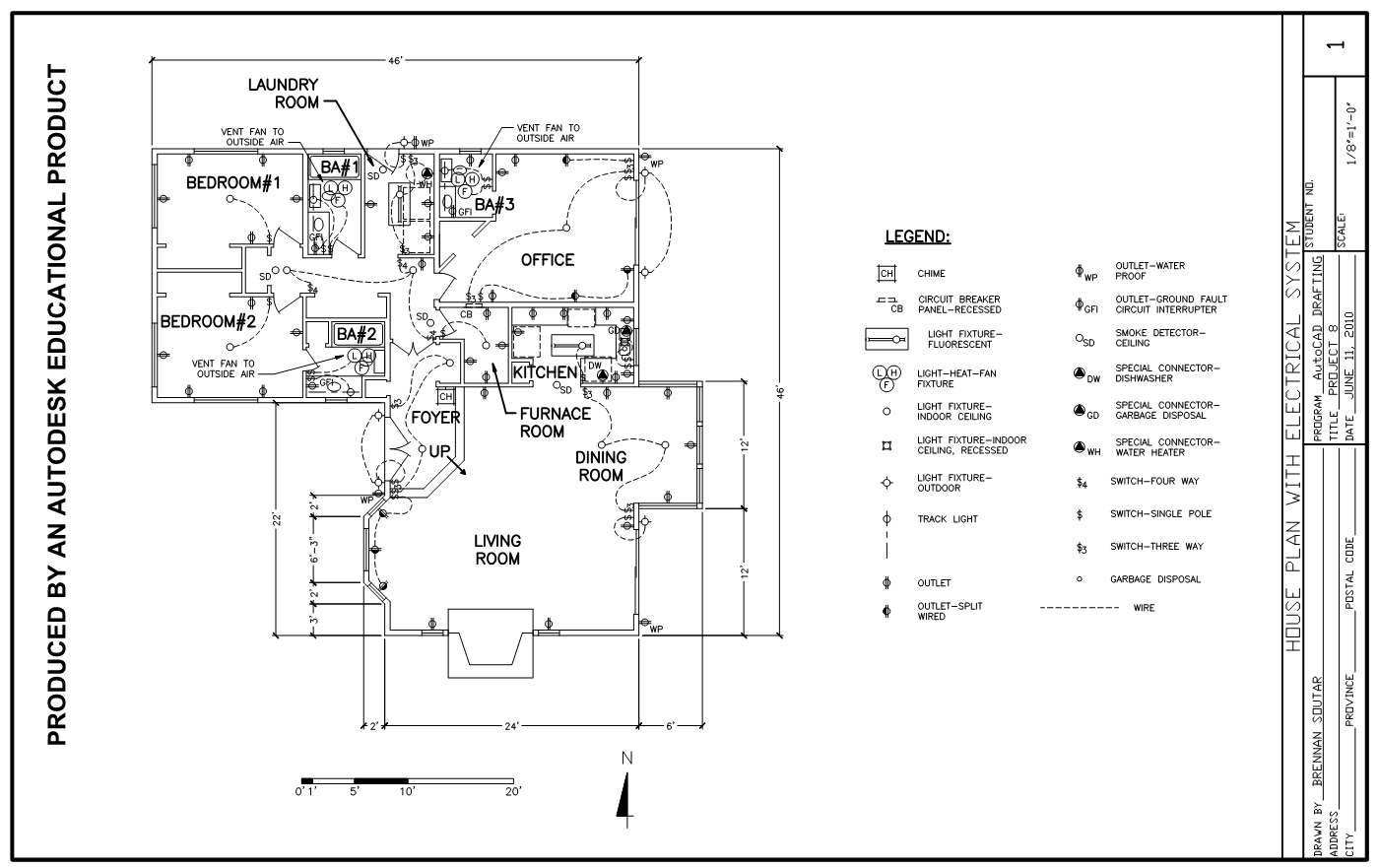 An architectural floor plan, showing placements of various electrical items  such as outlets, lights, and switches.