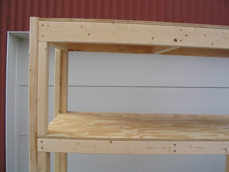 ft deep by 4 ft wide shelves constructed from 2x4, 2x3 and 1/2 ...