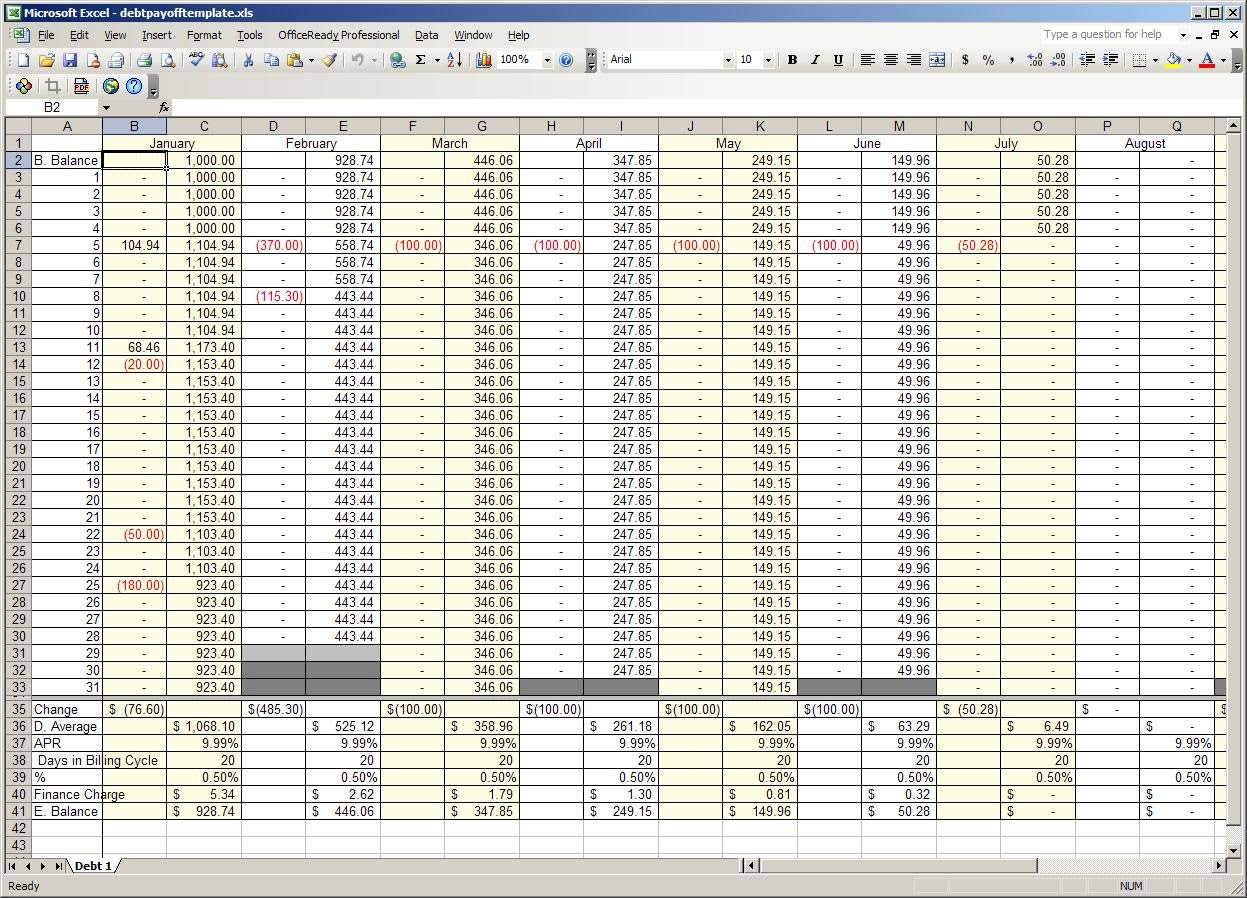 bills spreadsheet