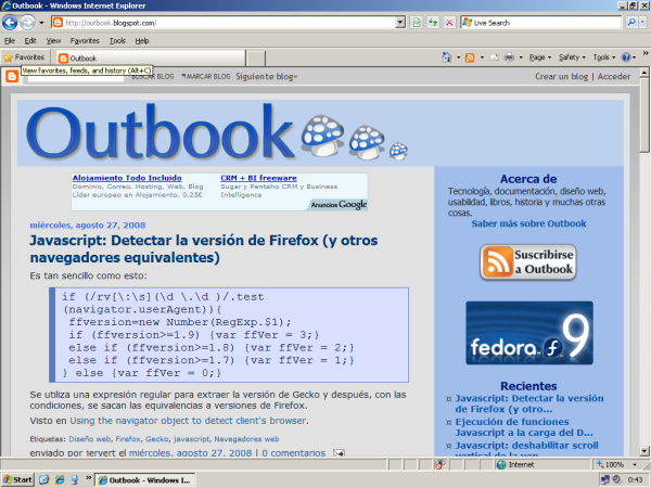 Captura de pantalla de Internet Explorer 8 Beta 2