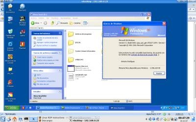 Captura de pantalla de Windows XP en Linux mediante RDP