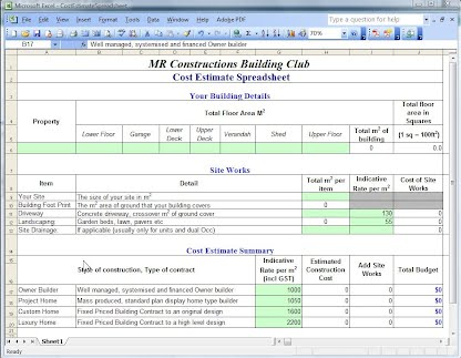 Building cost estimates new homes m r constructions for New home cost estimator