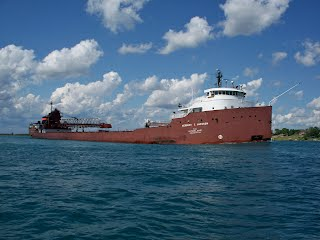 A Great Lakes Freighter as seen from the dock at Burkemos