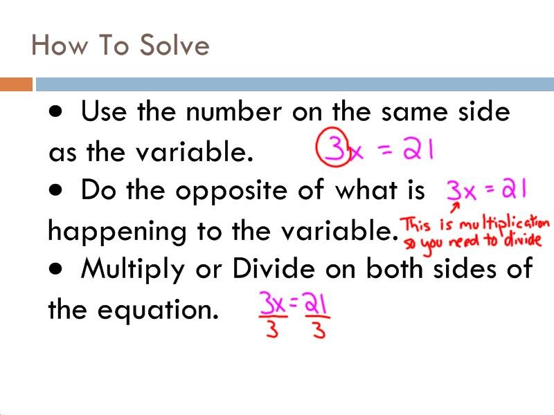 Solving Equations by Multiplying and Dividing - 7th Grade Pre ...