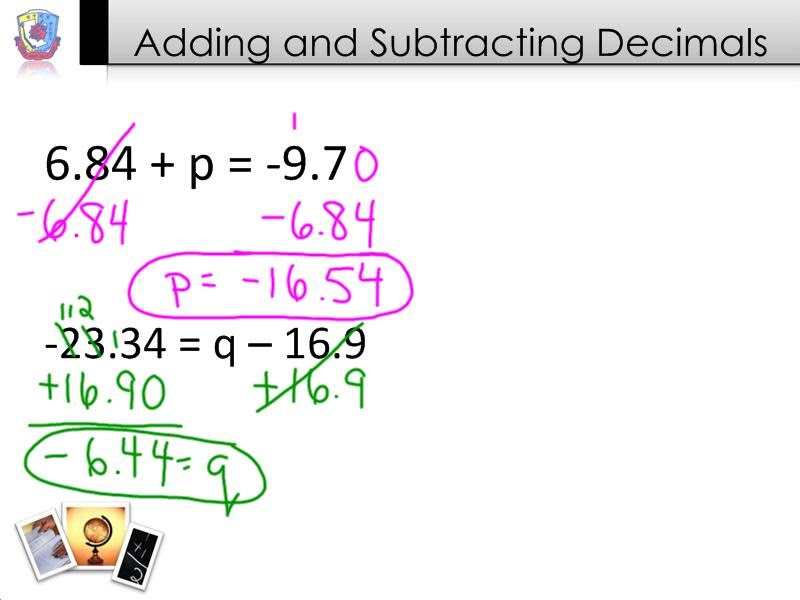 Solving Equations by Adding and Subtracting Decimals - 7th Grade ...