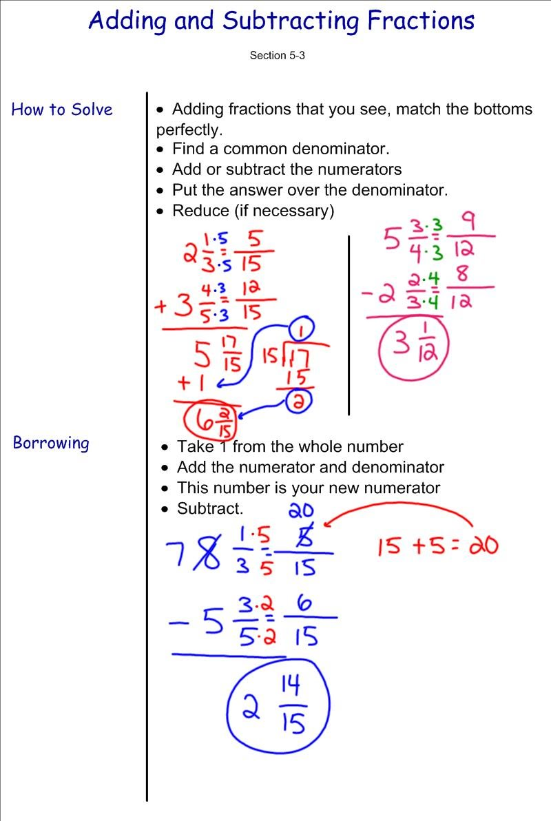 Worksheet How To Add And Subtract Fractions Adding And Subtracting Fractions  7th Grade Pre Algebra Mr