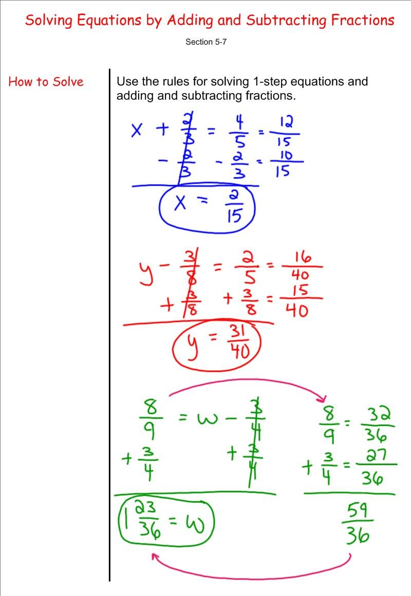 Solving Equations By Adding And Subtracting Fractions 7th Grade
