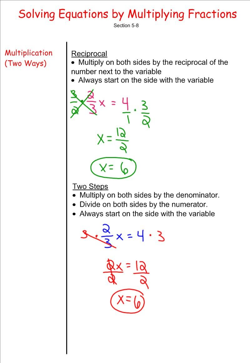 How to solve equations with fractions and different variables on both sides
