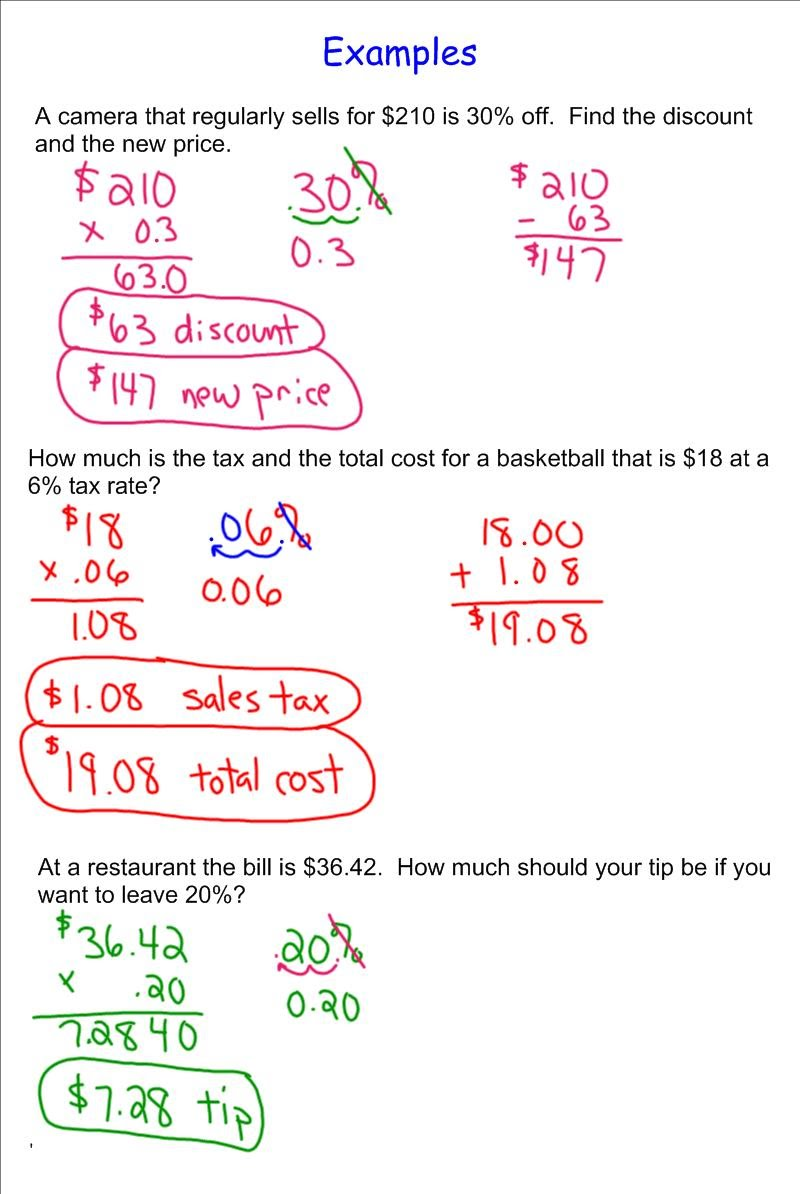 Discount, Sales Tax, Tip - 7th Grade Pre-Algebra - Mr. Burnett