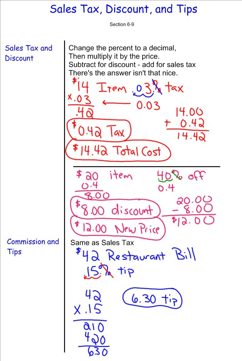 Discount Sales Tax Tip 7th Grade PreAlgebra Mr Burnett – 7th Grade Pre Algebra Worksheets