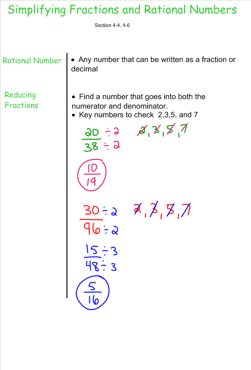 Reducing Fractions on Print Math Problems