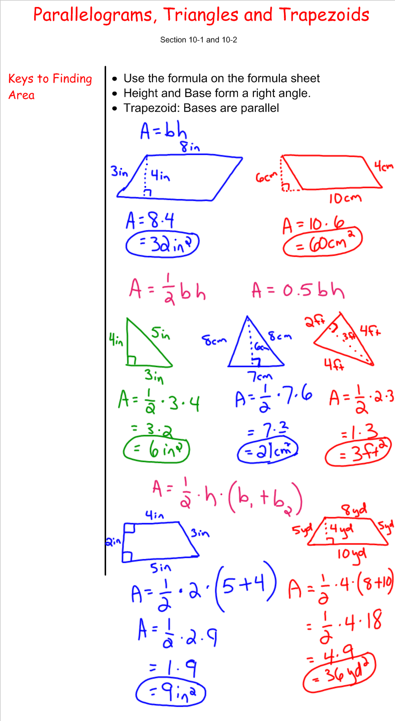 Area of Parallelograms, Triangles, and Trapezoids - 7th