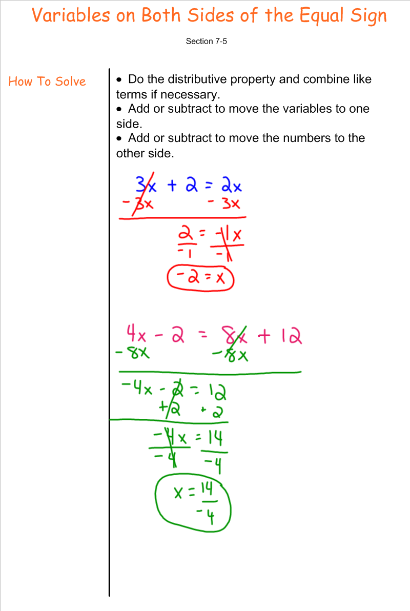 Solving Equations with Variables on Both Sides 7th Grade Pre – Variables on Both Sides Worksheet
