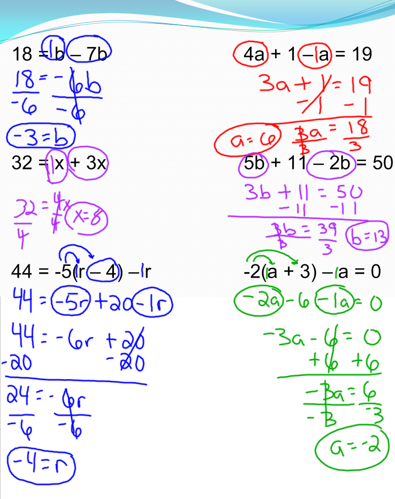 worksheet Multi Step Equations solving multi step equations 7th grade pre algebra mr burnett comments