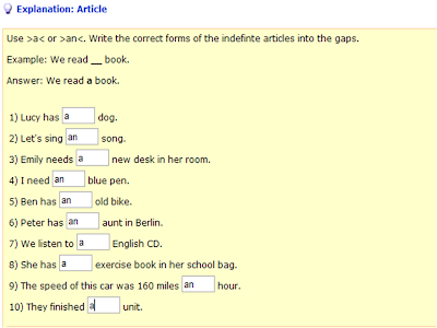 the indefinite article aan exercises 1
