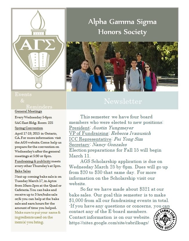 AGS Newsletter Released March 10th 2015