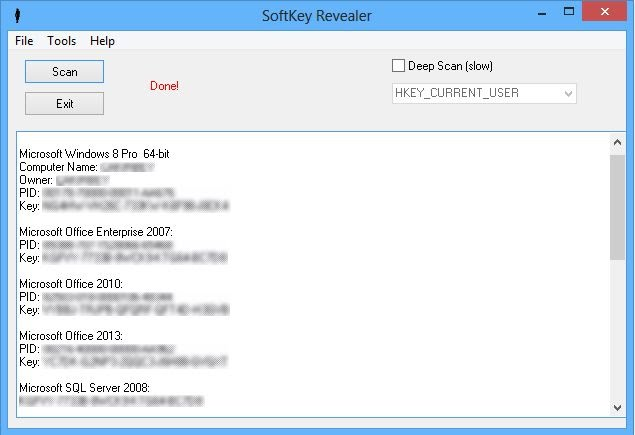 SoftKey Revealer full screenshot