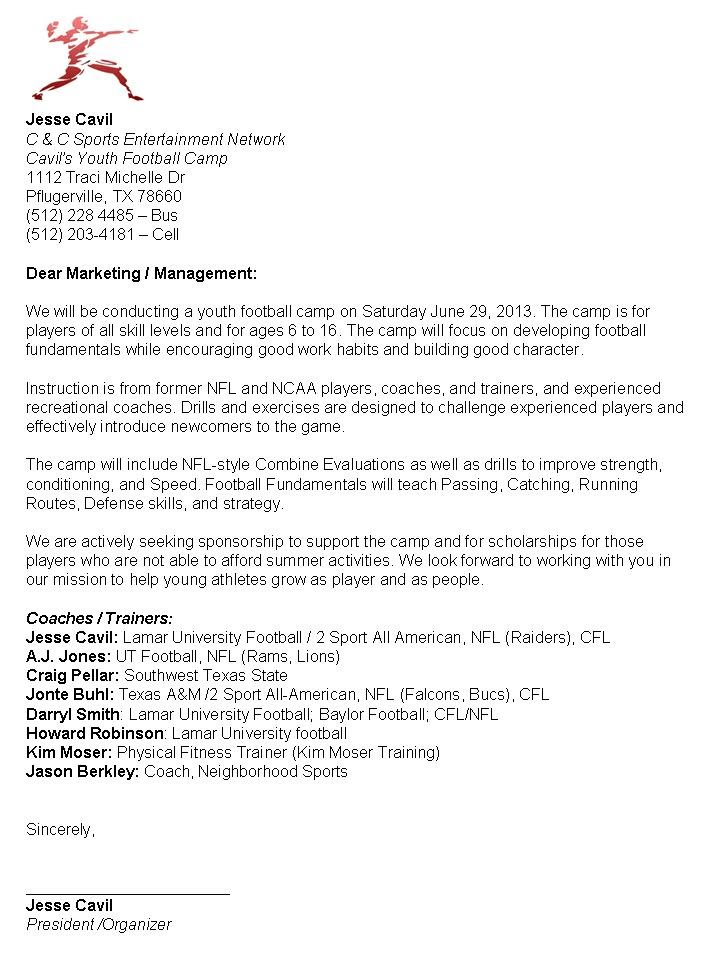 Sponsor letter - Camp Cavil Youth Football Events