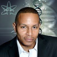Image of Reginald Finley Sr with sciency background (DNA helix, A-atom)