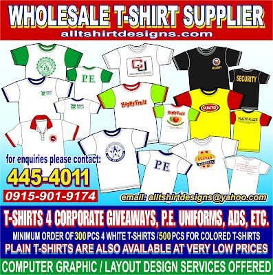 T-shirt supplier philippines t-shirt printing silkscreen corporate giveaway pe uniform