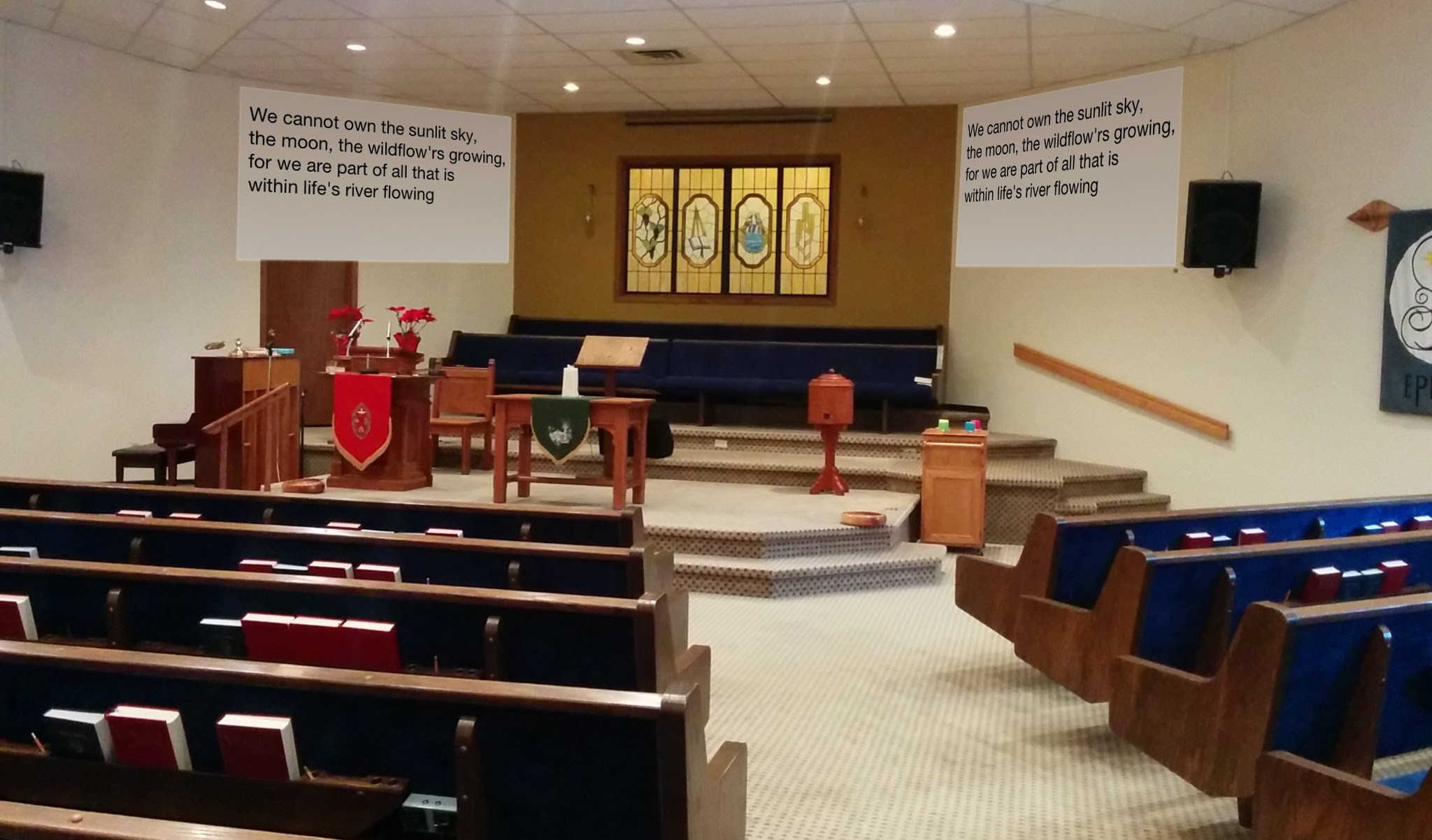 Sanctuary with text projected on screens