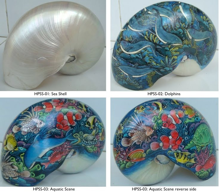 Hand painted seashells cav bali for Hand painted portraits from photos