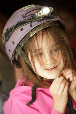 A girl and her helmet