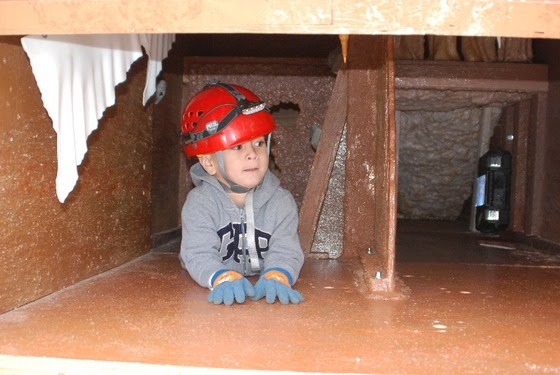 A boy explores CaveSim