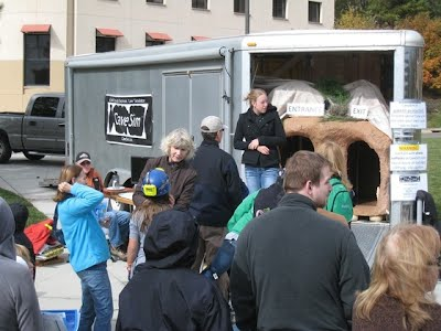 The enclosed CaveSim trailer on a busy day