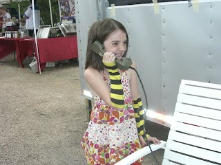 Girl and field phone