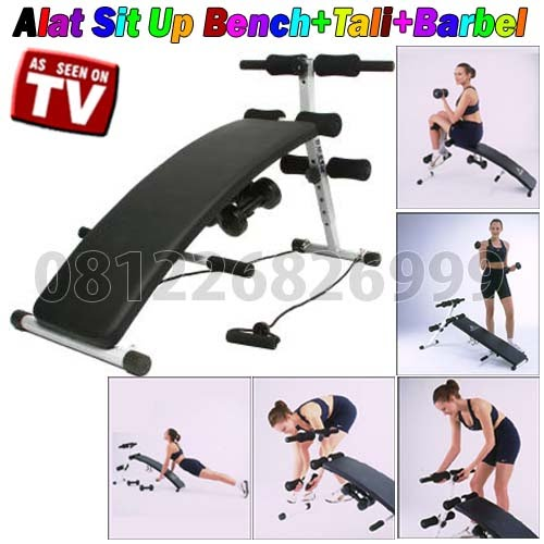 Alat Sit Up Bench+Tali+Barbel