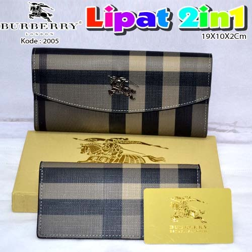 Dompet Burberry Lipat 2in1 2005 Silver Grey