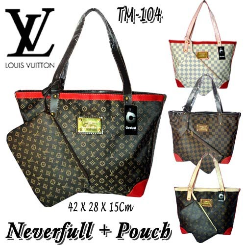 Tas Louis Vuitton Neverfull + Pouch