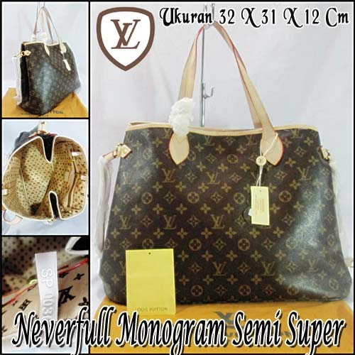 Tas Louis Vuitton Neverfull Monogram Semi Super