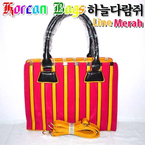 Tas Korea Bag Line Merah