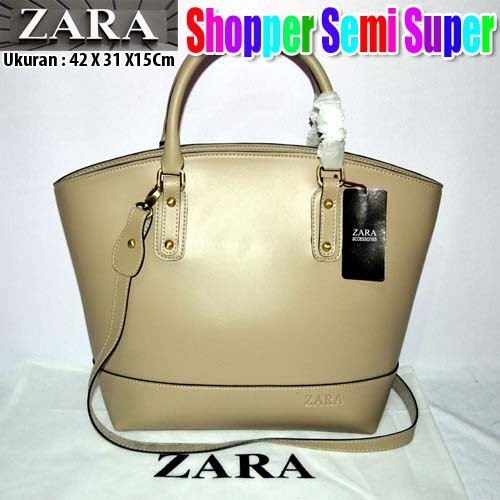 Tas Zara Shopper Semi Super Krem