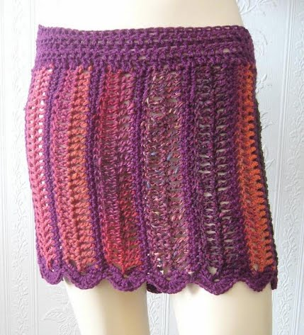 Purple, red, orange crochet skirt
