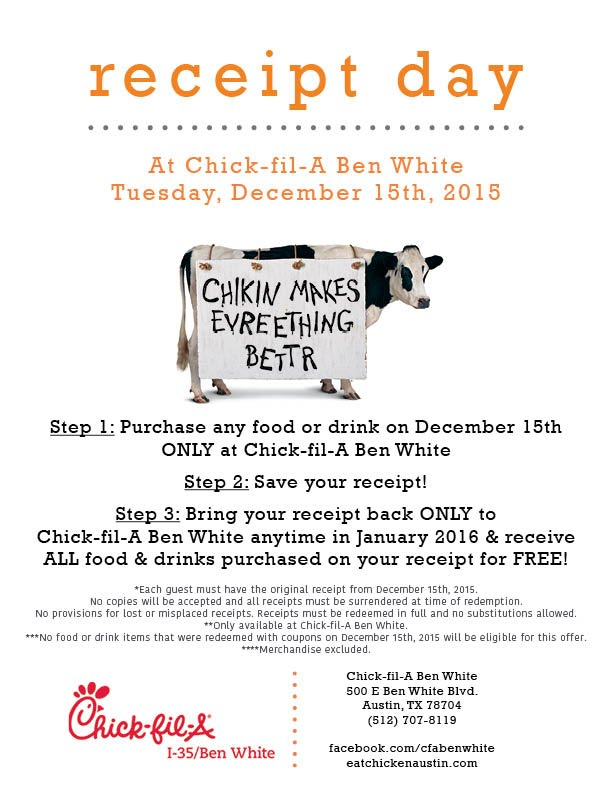 photograph about Chickfila Printable Coupons called cfareceiptday