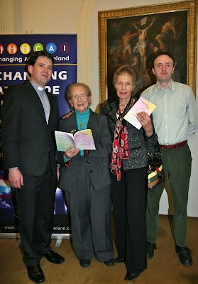 """Revd. Darren McCallig TCD Chaplain, Mrs Judge Catherine McGuinness, Canon Ginnie Kennerley and Dr. Richard O'Leary at the Dublin launch of """"Moving Forward Together""""."""