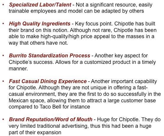 chipotle resources and capabilities Internal analysis: resources, capabilities, and activites sitemap internal analysis: resources, capabilities market saturation - if chipotle does not.