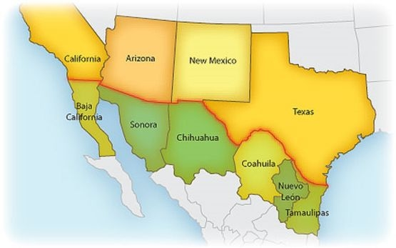Map Of Mexico And Us Border - Mexico us border map
