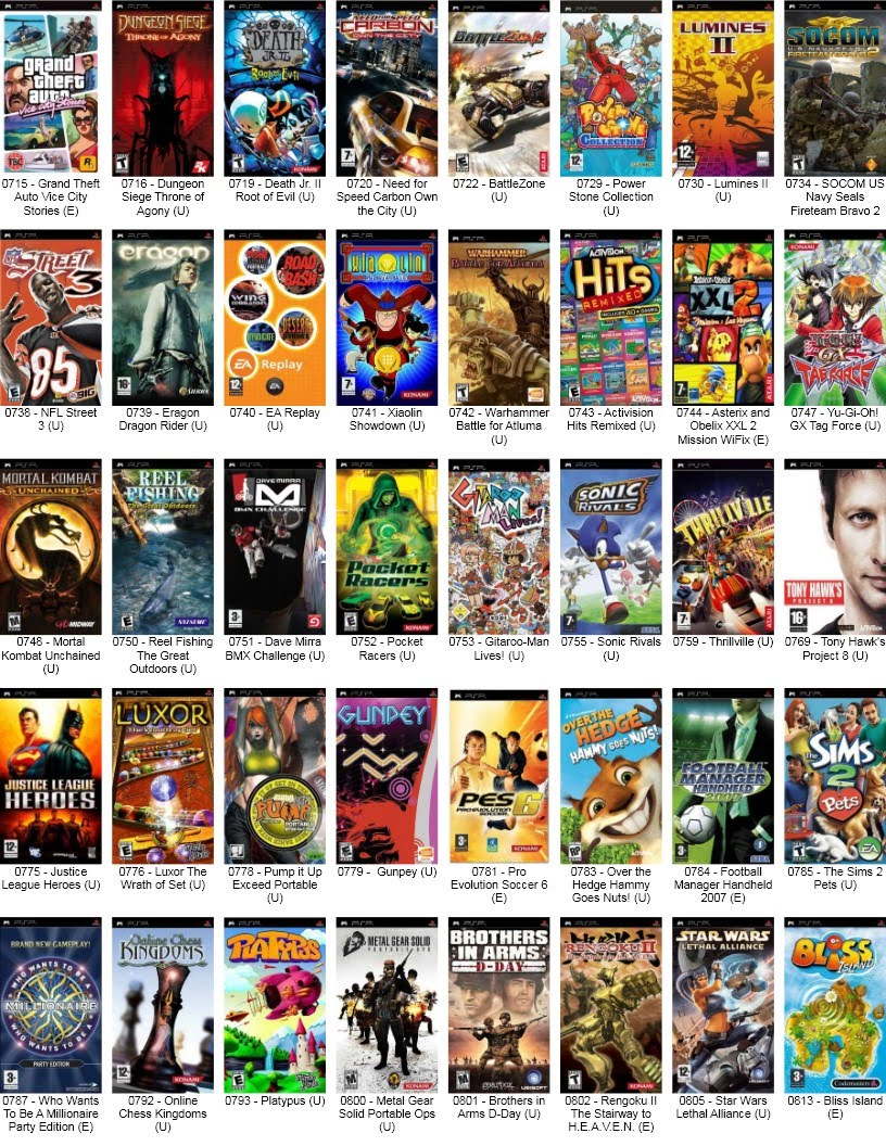 all psp games list with pictures