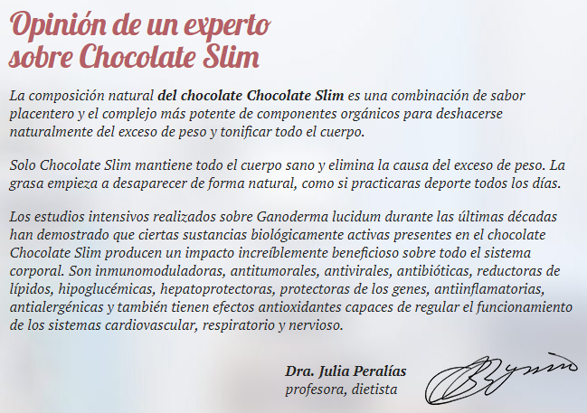 El chocolate slim funciona