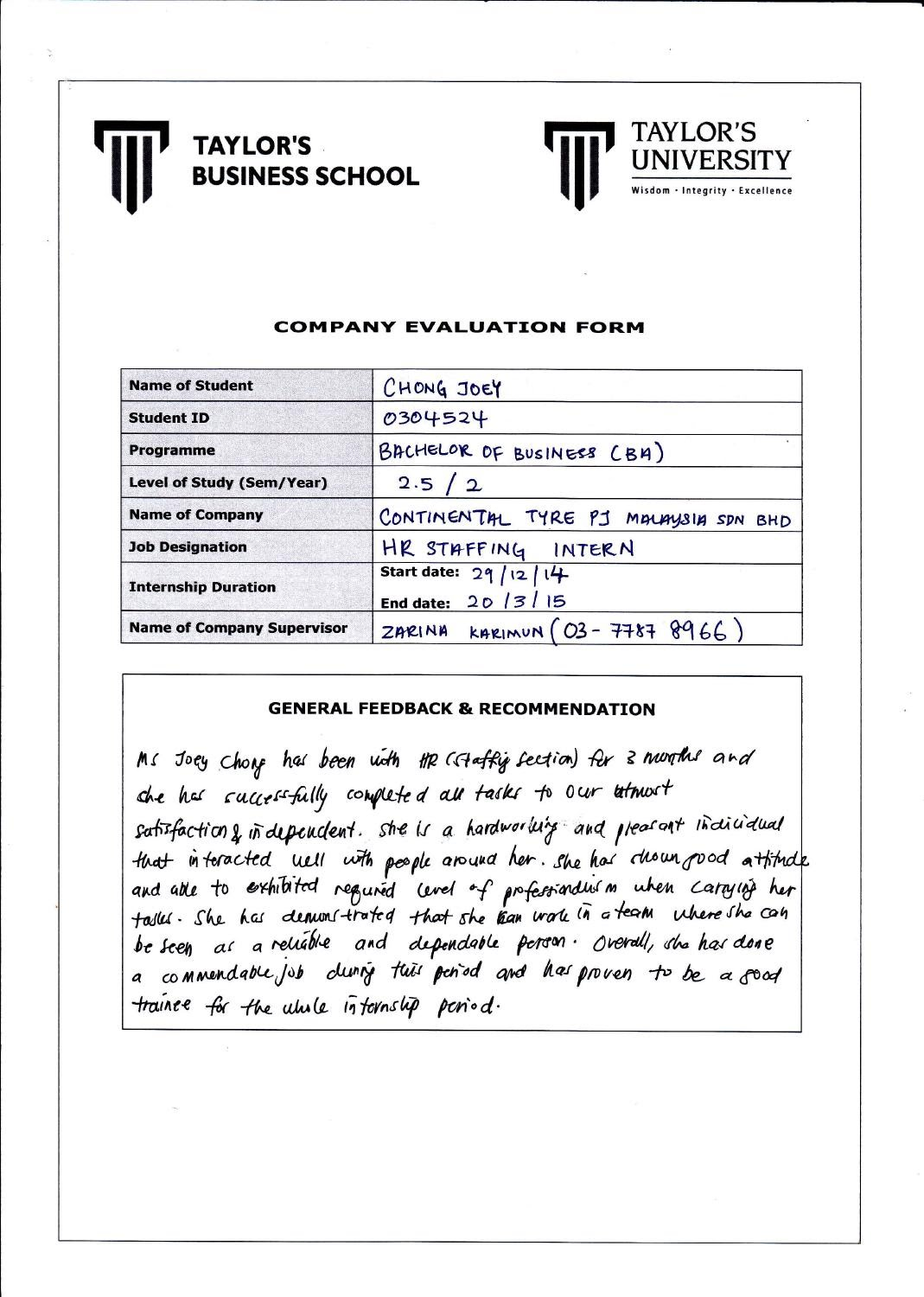 internship evaluation Internship evaluation form  intern's name principal's.