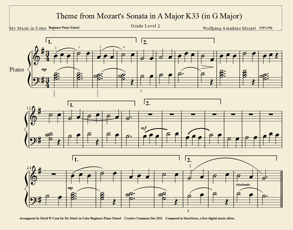 Theme from Mozart's K33 - My Classical Music in Color