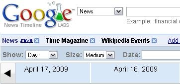 google time line, news time line, google, google labs