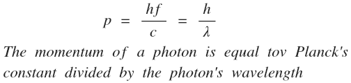 Image result for momentum of photon formula