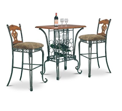 3 Piece Bar Table Set With Wine Rack Base Bar Table And 2 Bar Chairs Contemporary Dining Room Sets