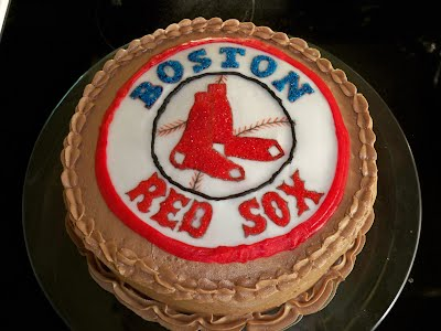 Boston Red Sox Birthday Cake With Hand Painted Logo